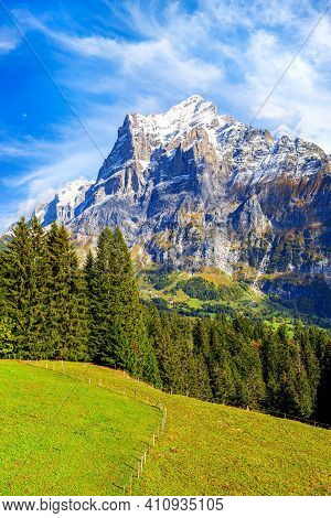 Grindelwald, Switzerland Aerial View Of Summer Swiss Alps Snow Mountains Panorama Landscape, Bernese