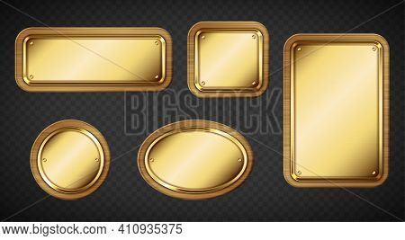 Gold Name Plates With Wooden Frame And Screws Isolated On Transparent Background. Vector Realistic S