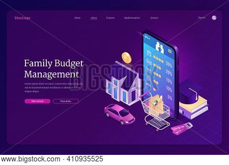 Family Budget Management Isometric Landing Page. Mobile Phone Application For Financial Planning, Mo