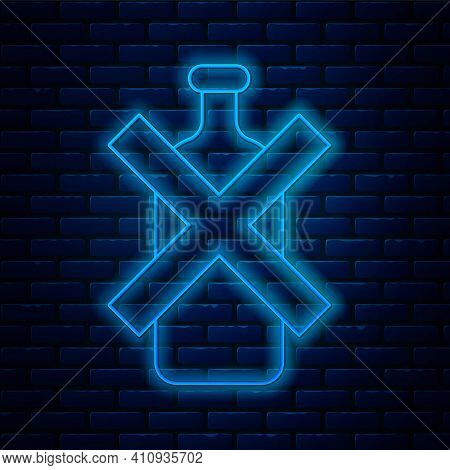 Glowing Neon Line No Alcohol Icon Isolated On Brick Wall Background. Prohibiting Alcohol Beverages.