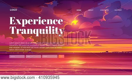 Travel Banner Of Tranquility Rest With Cartoon Landscape Of Sea Sunset. Vector Landing Page Of Calm