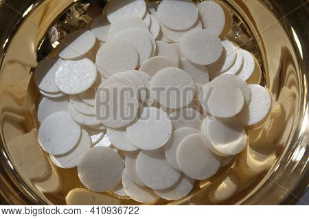Bowl With Sacramental Bread Or Host At The Holy Communion