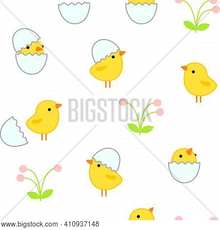 Easter Delicate Seamless Pattern With Cute Little Yellow Chicks In Cracked Eggs And Egg Shell, Flowe