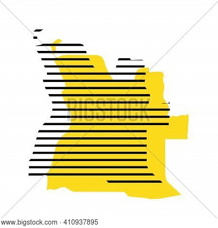 Angola - Yellow Country Silhouette With Shifted Black Stripes. Memphis Milano Style Design. Slimple