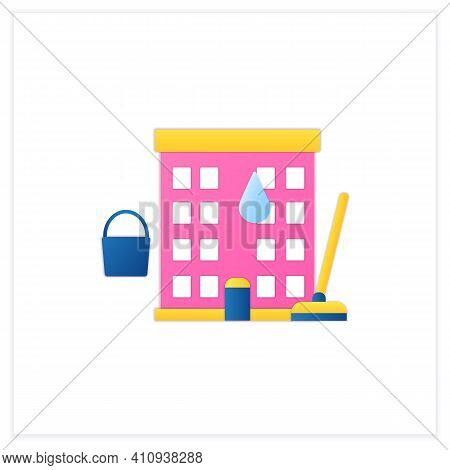 Apartment Cleaning Flat Icon. Sweeping Process In Flats, Including Washing Floor And Wiping Dust. Cl