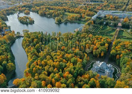 Aerial View Of The Catherine Park With A Large Pond In Tsarskoe Selo. Pushkin. Catherine Palace. Her