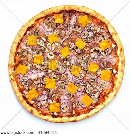 Pizza On An Isolated Background, Isolate, Cheese, Onion, Meat, Ham