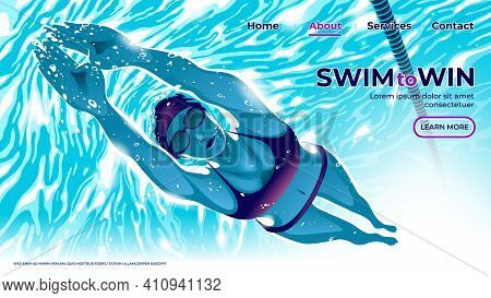 A Vector Illustration For Ui Or Landing Page Of The Female Swimming Athlete Is Diving Underwater In