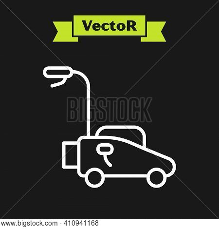 White Line Lawn Mower Icon Isolated On Black Background. Lawn Mower Cutting Grass. Vector