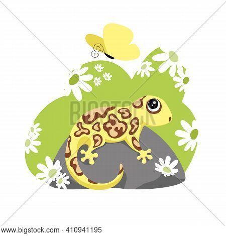 A Lizard. A Gecko. Vector Image Of An Amphibian In Nature. Flowers And A Butterfly