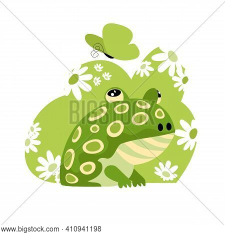 Frog. Vector Image Of An Amphibian In Nature. Flowers And A Butterfly
