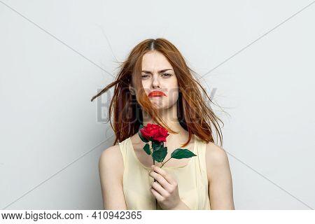 Sad Woman With Rose Flower Displeasure Sadness Cropped View Studio