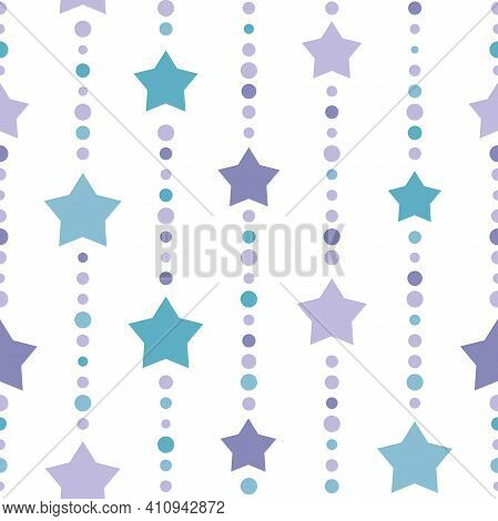 Seamless Background With Blue And Purple Dots And Blue Stars On White Background. Aquamarine Beads S