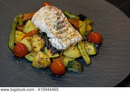 Roasted Cod Fillet On Different Mediterranean Vegetables