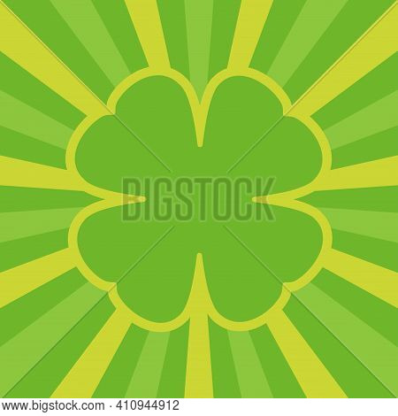 Four Leaf Clover With Rays. Green Frame For Text, Greeting Card. Flat Design. Irish Sign. Sun Beam R