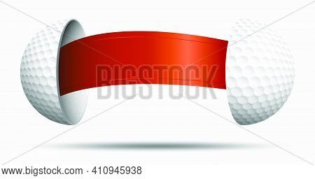 Golf Ball Halves With Red Ribbon Inside. Golf Sphere For Choosing An Opponent. Sports Lot, Luck. Vec