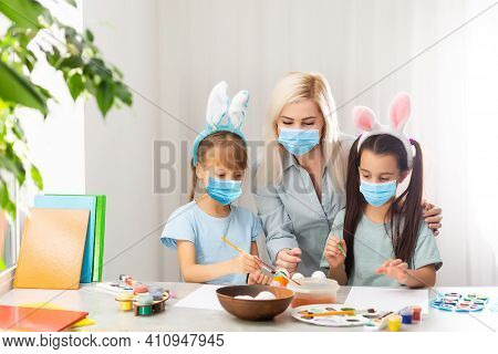Festive Atmosphere. Fun, Educational Easter Activity For Parent And Kid. Mom, Girl Play With Easter