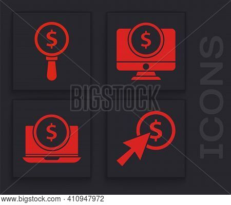 Set Cursor And Coin, Magnifying Glass And Dollar, Computer Monitor With Dollar And Laptop With Dolla