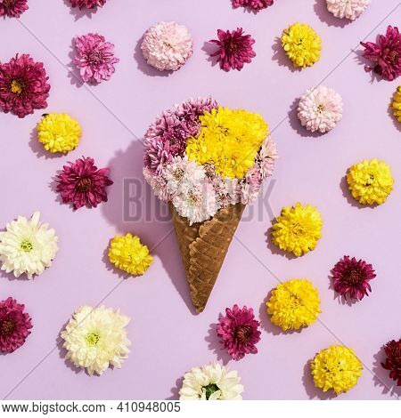 Beautiful Bouquet Lying On A Background With Flowers. Bouquet Of Different Flowers Lying In The Midd