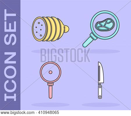 Set Knife, Salami Sausage, Frying Pan And Steak Meat In Frying Pan Icon. Vector