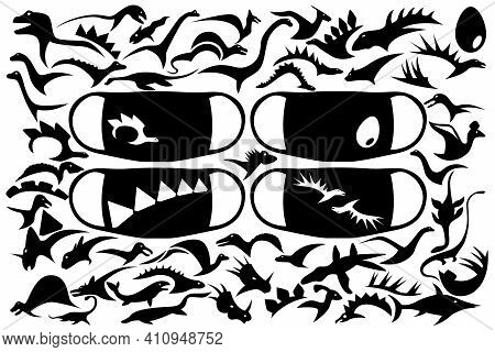 A Large Set Of Prints From The Silhouettes Of Various Dinosaurs On The Medical Mask. Vector Illustra