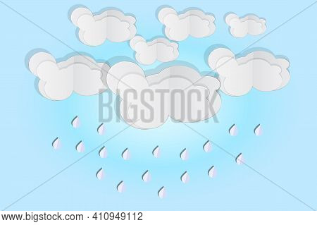 Cloud And Rain Isolated On Blue Background. Origami Art Rainy Season. Storm Weather Concept With Fal