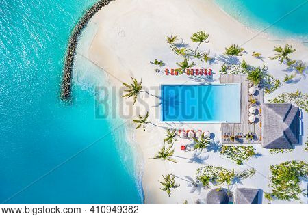 Aerial Top View Of Summer Beach Swimming Pool On Sunny Day With Palm Trees, Tropical Island Shore, E