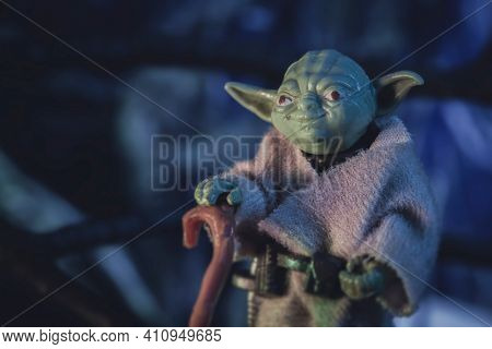 MARCH 1 2021: scene from Star Wars The Empire Strikes Back with Jedi Master Yoda on Dagobah - vintage Kenner 3.75 inch action figures