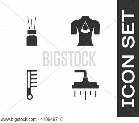 Set Shower Head, Aroma Diffuser, Hairbrush And Massage With Aroma Oils Icon. Vector
