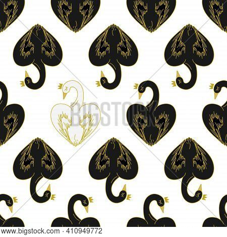 Seamless Pattern With Black Swans And A Lone White Heart-shaped Swan On A White Background.