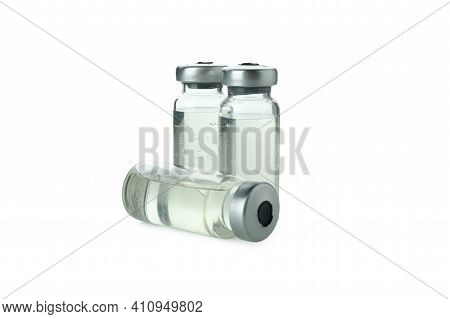 Vials Of Covid - 19 Vaccine Isolated On White Background