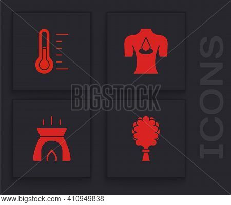 Set Sauna Broom, Thermometer, Massage With Aroma Oils And Aroma Candle Icon. Vector
