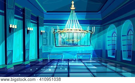 Ballroom In Night Vector Illustration Of Palace Hall With Crystal Chandelier And Midnight Magic Moon