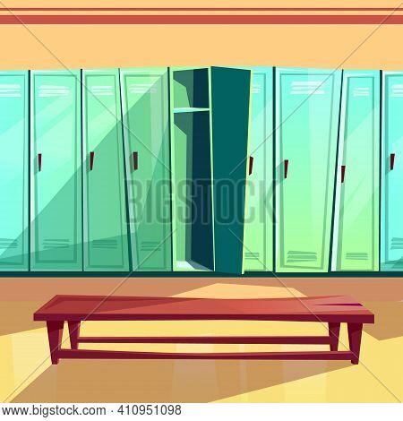 Locker Room Vector Illustration Of Seamless Gym Or School Sport Changing Room. Cartoon Background Of