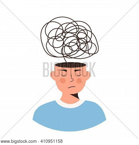 Frustrated Person With Nervous Problem. Distorted Thinking, Feel Anxiety And Confusion Of Thoughts.