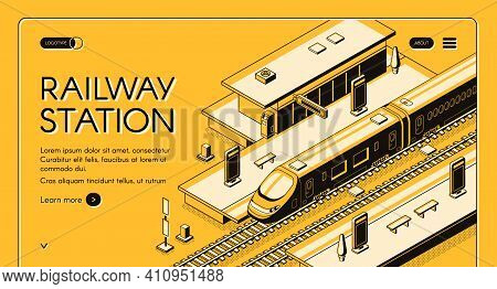 Railway Station Isometric Vector Web Banner With High-speed Express Train Stopping To Picking Up Pas
