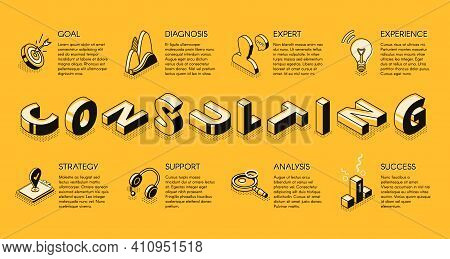 Business Consulting Services Line Art, Isometric Vector Banner. Expert Support In Financial Analysis