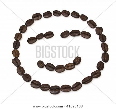Smile Shaped Coffee Beans Isolated On White Background.