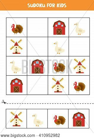 Sudoku Game With Cartoon Farmhouse, Mill, Goose And Turkey.