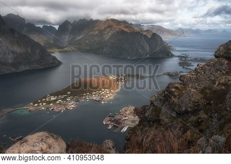 Lofoten Islands, Norway, Panorama Of The City Of Reine  From The Top Of The Reinebringen Mountain In