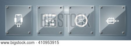 Set Bicycle Pedal, Wheel, Rental Mobile App And Mobile Holder. Square Glass Panels. Vector