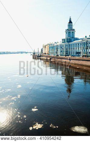 St Petersburg, Russia- April 5, 2019. Kunstkamera Building At The University Embankment, Neva River