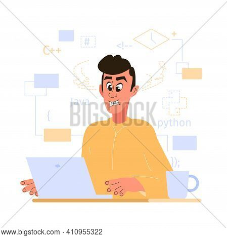 The Programmer Is Overloaded With Simultaneous Work Tasks. Workflow Planning. Vector Illustration