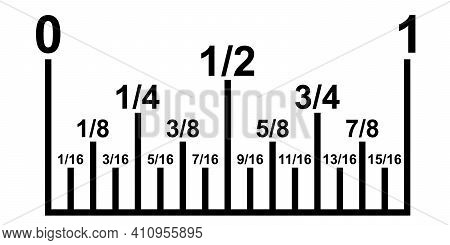Inch Fractions On A Ruler, Converting Decimal Numbers To Metric, Vector Inch Calculator Ruler