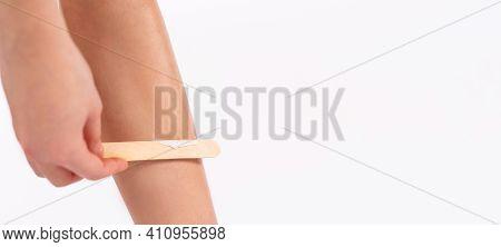 Banner. Cropped Photo Of Female Leg. Epilating Leg With Liquid Sugar. Woman Use Hair Removal Cream,