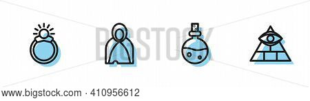 Set Line Bottle With Love Potion, Magic Stone Ring Gem, Mantle, Cloak, Cape And Masons Icon. Vector