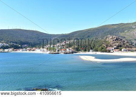 Small Fishing Village And Beach At Rias Baixas Region. Ezaro, Dumbria, Coruña, Galicia, Spain.