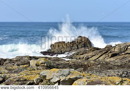 View From A Cliff With Waves Splashing At Famous Costa Da Morte In Galicia Region. Coruña, Spain.