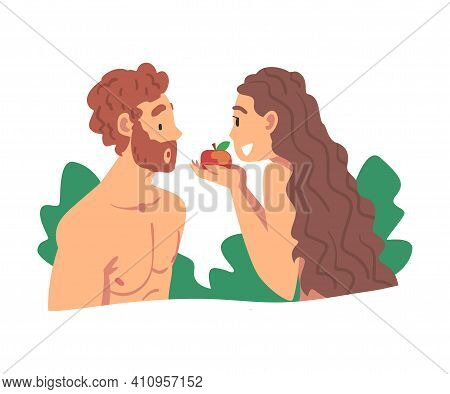 Adam And Eve Partaking Forbidden Fruit As Narrative From Bible Vector Illustration