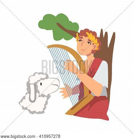 David King Of Israel Playing Harp As Narrative From Bible Vector Illustration